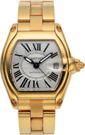Timepieces:Wristwatch, Cartier Gentlemen's 18k Gold Roadster Automatic Wristwatch. ...