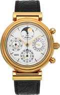 Timepieces:Wristwatch, IWC Da Vinci Ref. 3750 Fine Astronomic Automatic Gold Chronograph Wristwatch With Perpetual Calendar & Moon Phase. ...