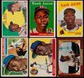 Baseball Cards:Lots, 1955-59 Bowman and Topps Hank Aaron Collection (6)....