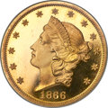 Proof Liberty Double Eagles, 1866 $20 With Motto, PR65 Cameo NGC. Gold CAC....