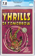 Golden Age (1938-1955):Science Fiction, Thrills of Tomorrow #18 (Harvey, 1954) CGC FN/VF 7.0 Light tan tooff-white pages....