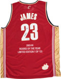 Basketball Collectibles:Uniforms, 2003-04 LeBron James Signed Limited Edition UDA Jersey (75/123).....