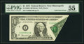 Error Notes:Foldovers, Foldover Error Fr. 1908-I $1 1974 Federal Reserve Note. PMG AboutUncirculated 55.. ...