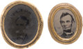 Political:Ferrotypes / Photo Badges (pre-1896), Abraham Lincoln: Oval Ferrotype Brooches.... (Total: 2 Items)