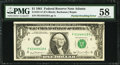 Error Notes:Miscellaneous Errors, Fr. 1911-F $1 1981 Federal Reserve Note. PMG Choice About Unc 58.. ...