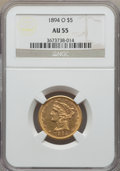 Liberty Half Eagles: , 1894-O $5 AU55 NGC. NGC Census: (57/231). PCGS Population: (57/77). Mintage 16,600. ...