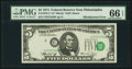 Error Notes:Shifted Third Printing, Fr. 1973-C* $5 1974 Federal Reserve Star Note. PMG Gem Uncirculated 66 EPQ.. ...