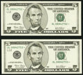 Small Size:Federal Reserve Notes, Fr. 1990-L* $5 2003 Federal Reserve Notes. Two Consecutive Examples. Choice Crisp Uncirculated.. ... (Total: 2 notes)