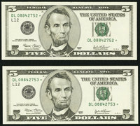 Fr. 1990-L* $5 2003 Federal Reserve Notes. Two Consecutive Examples. Choice Crisp Uncirculated