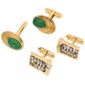 Estate Jewelry:Cufflinks, Diamond, Garnet, Gold Cuff Links. ... (Total: 4 Items)