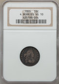 Early Dimes, 1805 10C 4 Berries, JR-2, R.2, VG10 NGC. NGC Census: (5/217). PCGSPopulation: (1/12). Mintage 120,780. ...