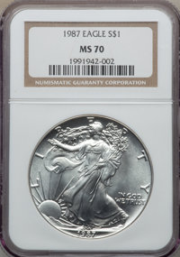 1987 $1 Silver Eagle MS70 NGC. NGC Census: (578). PCGS Population: (48). Mintage 11,442,335. From The Siegel Collect...(...