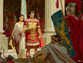 Paintings, Dean Cornwell (American, 1892-1960). Marcellus and Diana before Caligula, The Robe, book illustration, 1947. Oil on boar...