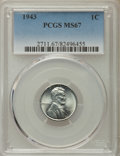 Lincoln Cents, 1943 1C MS67 PCGS. PCGS Population: (1744/60). NGC Census: (3527/17). CDN: $150 Whsle. Bid for problem-free NGC/PCGS MS67. ...