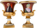 Political:3D & Other Display (1896-present), George and Martha Washington: A Lovely Pair of 19th CenturyHand-painted Paris Porcelain Urns.... (Total: 2 Items)