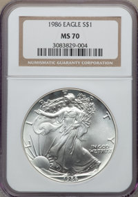 1986 $1 Silver Eagle MS70 NGC. NGC Census: (1600). PCGS Population: (123). Mintage 5,393,005. From The Siegel Collec...(...
