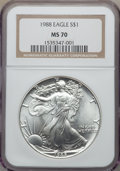 Modern Bullion Coins, 1988 $1 Silver Eagle MS70 NGC. NGC Census: (409). PCGS Population: (33). . From The Siegel Collection....