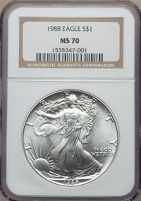 1988 $1 Silver Eagle MS70 NGC. NGC Census: (409). PCGS Population: (33). From The Siegel Collection....(PCGS# 9816)