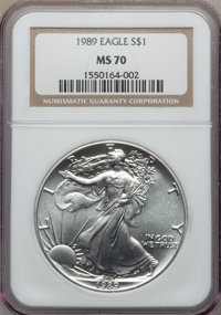 1989 $1 Silver Eagle MS70 NGC. NGC Census: (507). PCGS Population: (41). Mintage 5,203,327. From The Siegel Coll...(PCGS...