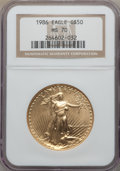Modern Bullion Coins, 1986 $50 One-Ounce Gold Eagle MS70 NGC. NGC Census: (465). PCGS Population: (53). ...
