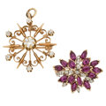 Estate Jewelry:Brooches - Pins, Diamond, Ruby, Gold Pendant-Brooches . ... (Total: 2 Items)