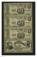 National Bank Notes:Kentucky, Louisville, KY - $1-$1-$1-$2 Original Fr. 382/389 The German NB Ch.# 2062 Uncut Sheet. This is the second of two uncut ...