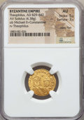 Ancients:Byzantine, Ancients: Theophilus (829-842). AV solidus (4.38 gm). NGC AU 5/5 -3/5, wavy flan....