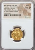 Ancients:Byzantine, Ancients: Heraclius & Heraclius Constantine (613-641). AVsolidus (4.49 gm). NGC MS 4/5 - 4/5....