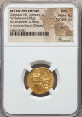 Ancients:Byzantine, Ancients: Constans II & Constantine IV (654-668). AV solidus(4.32 gm). NGC MS 5/5 - 2/5, graffiti....