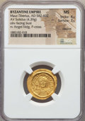 Ancients:Byzantine, Ancients: Maurice Tiberius (582-602). AV solidus (4.39 gm). NGC MS4/5 - 3/5, clipped....