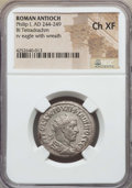Ancients:Roman Provincial , Ancients: SYRIA. Antioch. Philip I (AD 244-249). AR tetradrachm.NGC Choice XF....