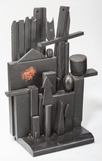Louise Nevelson (1899-1988) Little Mansion, circa 1955 Polychrome and ebonized wood 32 x 25 x 11