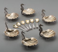 Silver Holloware, Continental, Six Buccellati Partial Gilt Silver Figural Open Salts with SixAssociated Partial Gilt Silver Spoons, Italy, 20th century. M...(Total: 12 Items)