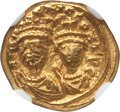 Ancients:Byzantine, Ancients: Heraclius (AD 610-641), with Heraclius Constantine. AVsolidus (4.43 gm). NGC AU 4/5 - 5/5....