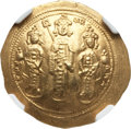 Ancients:Byzantine, Ancients: Romanus IV Diogenes (1068-1071), with Eudocia, MichaelVII, Constantius and Andronicus. AV histamenon nomisma (4.39 gm).NGC M...