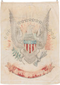 Political:Textile Display (1896-present), Eagle & Shield: Folk Art Patriotic Banner....