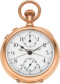 Timepieces:Pocket (pre 1900) , Tiffany & Co. Large & Very Fine Gold Split Second Chronograph With Register, circa 1895. ...