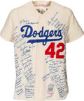 Baseball Collectibles:Uniforms, Circa 1990 Jackie Robinson Signed Brooklyn Dodgers Jersey with Approximately 100 Autographs. ...