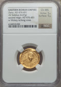 Ancients:Roman Imperial, Ancients: Zeno (AD 474-491). AV solidus (4.47 gm). NGC ChoiceMS 5/5 - 5/5....