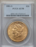 Liberty Double Eagles: , 1881-S $20 AU58 PCGS. PCGS Population: (179/483). NGC Census: (246/398). CDN: $1,350 Whsle. Bid for problem-free NGC/PCGS A...