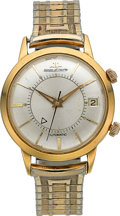 Timepieces:Wristwatch, LeCoultre Large 18k Gold Automatic Wrist Alarm. ...
