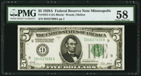 Fr. 1951-I $5 1928A Federal Reserve Note. PMG Choice About Unc 58