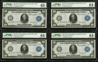 Fr. 910 $10 1914 Federal Reserve Note Cut Sheet of Four. PMG Gem Uncirculated 65 EPQ (1), Very Choice Uncirculated 64 EP...