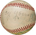 Baseball Collectibles:Balls, 1947 Old-Timers' Day Reunion Multi-Signed Baseball with Cy Young. ...