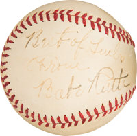 """1940-41 Babe Ruth Single Signed Baseball with """"Best of Luck"""" Inscription"""