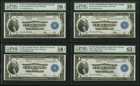 Fr. 729 $1 1918 Federal Reserve Bank Notes Cut Sheet of Four PMG Choice Uncirculated 63 EPQ (1), Choice About Uncirculat...