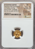 Ancients:Byzantine, Ancients: Heraclius (AD 613-641) and Heraclius Constantine (AD613-641). AV solidus (4.47 gm). NGC XF 4/5 - 3/5, lightgraffito. ...