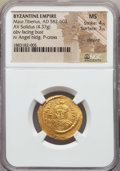 Ancients:Byzantine, Ancients: Maurice Tiberius (582-602). AV solidus (4.37gm).NGC MS 4/5 - 3/5, clipped....