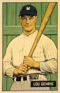"Baseball Collectibles:Others, 2016 Lou Gehrig 1951 Bowman ""Card That Never Was"" Original Artwork by Arthur Miller...."