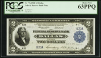 Low Serial Number K30A Fr. 776 $2 1918 Federal Reserve Bank Note PCGS Choice New 63PPQ